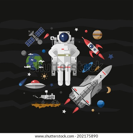 Vector illustration set on space. Flat. - stock vector