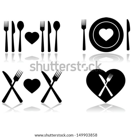 Vector illustration set showing four different icons symbolizing a dinner date - stock vector