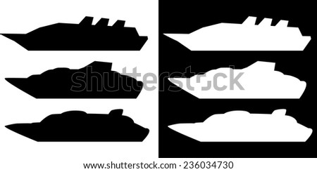 Vector illustration - set silhouette cruise ship  isolated on black or white background - stock vector