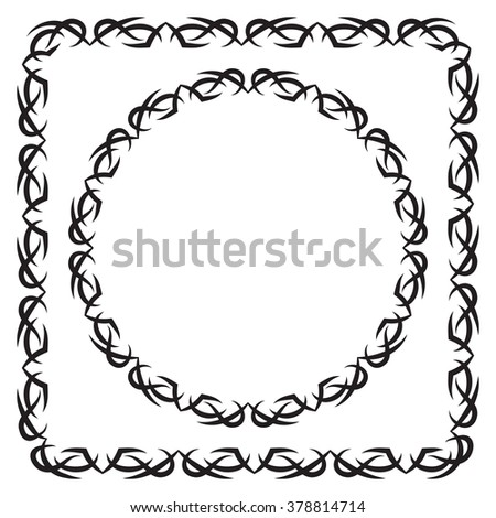 vector illustration. set. square and round decorated frame. black on a white background - stock vector
