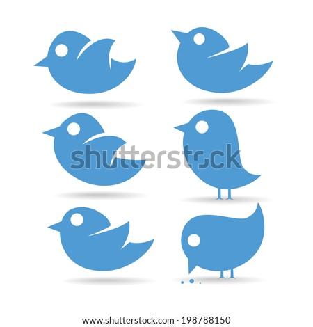 vector illustration set tvitter blue bird on a white background eats - stock vector