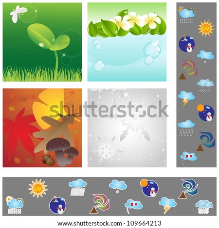Vector illustration set: Weather graphic design elements for cards & background (Part 2)