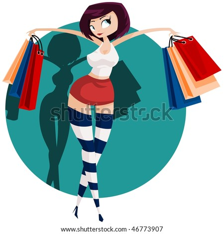 Vector illustration: sexy girl carries colorful shopping-bags. - stock vector