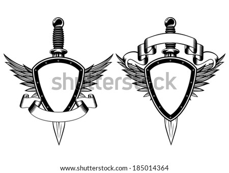 Vector illustration shield, wings and dagger - stock vector