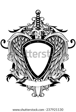 Vector illustration shield, wings and sword - stock vector