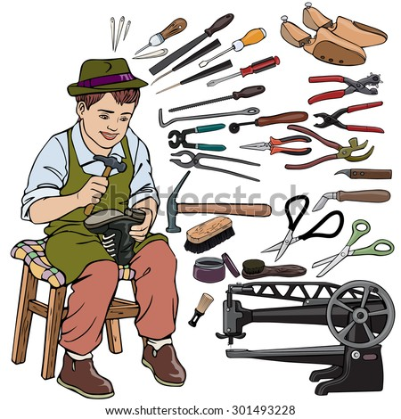 Vector illustration, shoemaker gear, cartoon concept, white background.