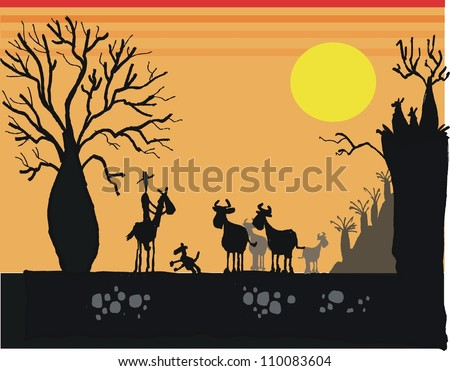 Vector illustration showing Australian landscape at sunset with stock man