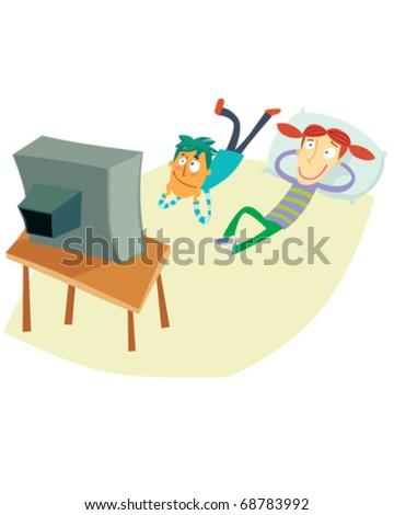 vector illustration showing kids watching TV - stock vector