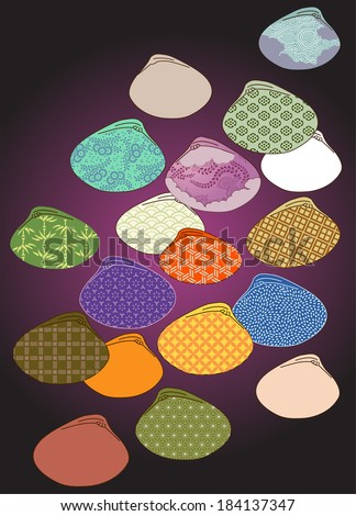 Vector Illustration showing patterns within silhouetted shapes of clam shells.