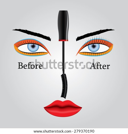 Vector illustration showing the appearance of eyelashes before and after applying mascara. Results and benefits. - stock vector
