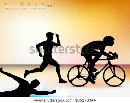 Vector illustration showing the progression of triathlon athletes. Sport background. EPS 10. - stock vector
