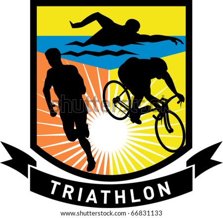 vector illustration showing the sport of triathlon with triathlete athlete swimming, biking or cycling and running