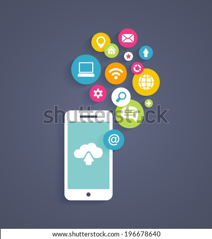Vector illustration showing the use of cloud computing  storage and applications on a mobile phone with a set of colorful icons on web buttons above a mobile device