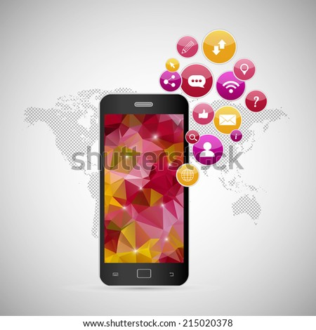 Vector illustration showing the use of cloud computing storage and applications on a mobile phone with polygonal background