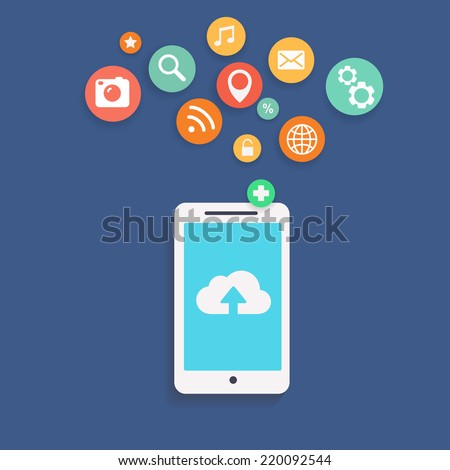 Vector illustration showing the use of cloud computing  storage and applications on a mobile phone with a set of colorful icons on web buttons above a mobile device - stock vector