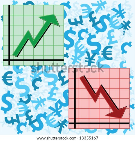 Vector illustration showing two graphs, one showing an upward movement and another a downward movement, over a background of currency symbols. - stock vector