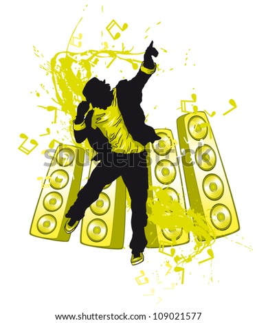Vector illustration silhouette dancing man on abstract background