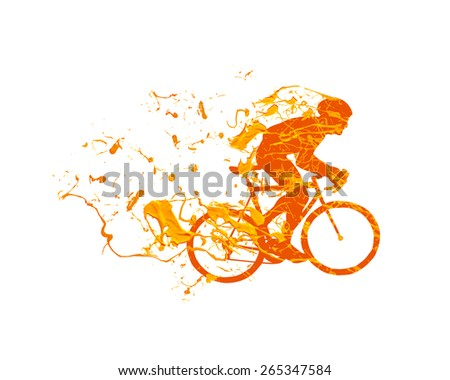 Vector illustration: silhouette of a cyclist racing in the spray paint on a white background
