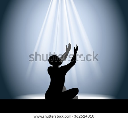 vector illustration silhouette of a man in prayer raises his hands with rays coming from the top - stock vector