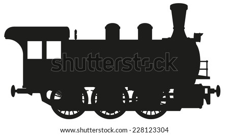 vector illustration silhouette of a steam locomotive isolated on white background - stock vector