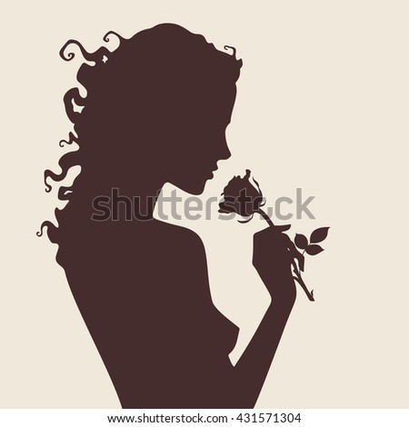 Vector illustration silhouette of beautiful curly girl with rose flower in profile isolated - stock vector