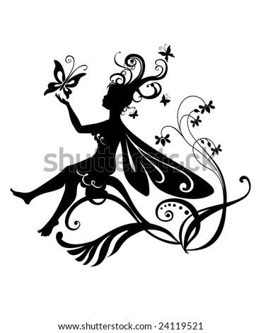 Little Elf On Flower Stock Vector 1058141 Shutterstock