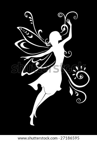 Vector Illustration Silhouette of funky fairy on flower pattern design
