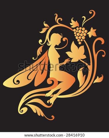 Vector Illustration Silhouette of golden fairy on flower pattern design - stock vector