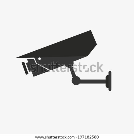 vector illustration silhouette of surveillance cameras - stock vector