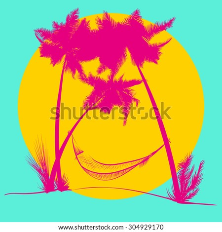 Vector illustration. Silhouette palm trees with a hammock, magenta colors on a yellow background. - stock vector