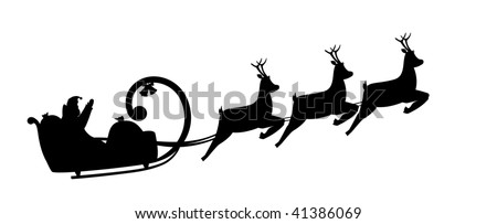 Vector illustration silhouette Santa Claus drives in a sleigh - stock vector