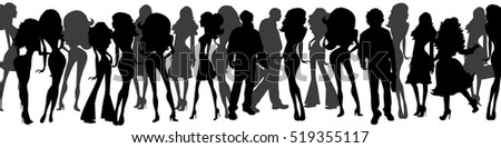 Vector illustration silhouettes group of different women and men