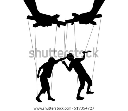 Vector illustration silhouettes man of symbol marionette
