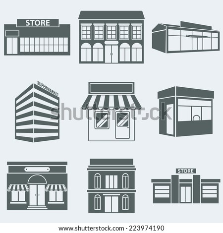 Vector illustration silhouettes of buildings shops - stock vector