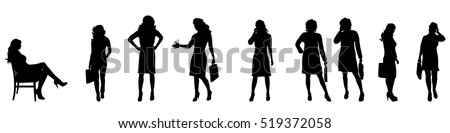 Vector illustration silhouettes of business people on white background