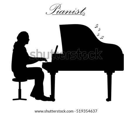 Pianist Silhouette Stock Images, Royalty-Free Images ...