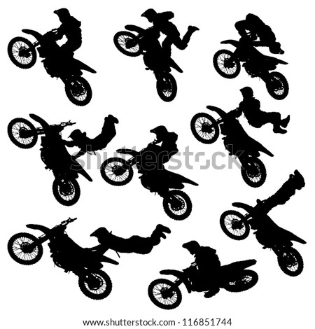Motorcycle Racing Silhouette Illustration silhouettes .
