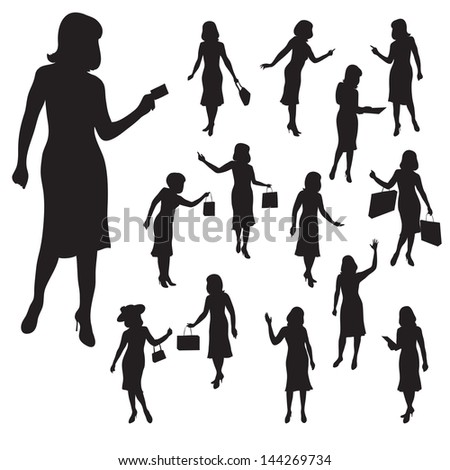 vector illustration silhouettes of women in various poses
