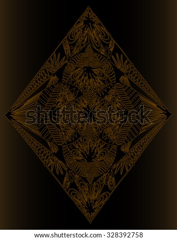 Vector illustration, simple freehand geometry, golden collection, card concept. - stock vector