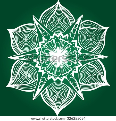 Vector illustration, simple mandala star on green background, kaleidoscope design, card concept. - stock vector