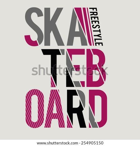 vector illustration skateboard freestyle graphics for t-shirt ,vintage design - stock vector