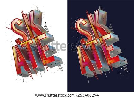 vector illustration skateboard freestyle street style legendary rider, graphics for t-shirt ,colorful vintage design - stock vector