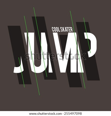 vector illustration skateboard jump cool skater graphics for t-shirt ,vintage design - stock vector