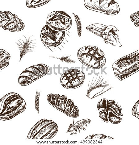 Vector illustration sketch bread, loaf, baguette,  Pattern bakery house with fresh pastry