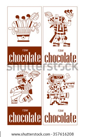 vector illustration sketch drawing aztec cacao bean, leaves, nibs cacao, chocolate package label
