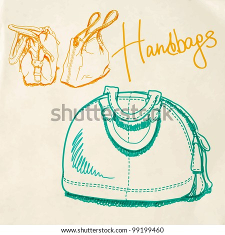 Vector illustration, sketch imitating bags with markers - stock vector