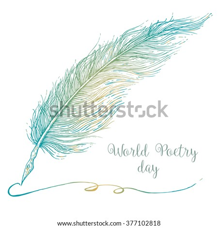vector illustration sketch of a fountain pen, World Poetry Day
