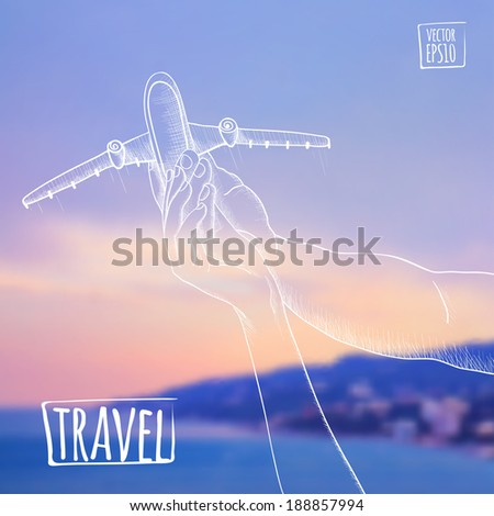 vector illustration. Sketch on summer dreams on a backdrop of mountains, sea and sky. Couple holding a model airplane, dreaming of traveling. - stock vector