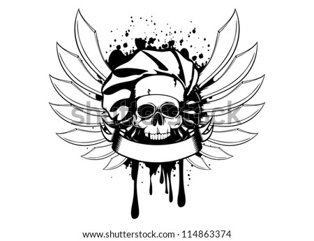 Vector  illustration skull of cook with knifes - stock vector
