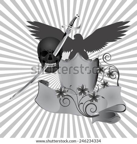 vector illustration skull pierced by a sword against the background of an eagle with flowers - stock vector